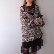 Одежда ручной работы. Ярмарка Мастеров - ручная работа Пуловер вязаный с глубоким V-образным вырезом меланж. Handmade.