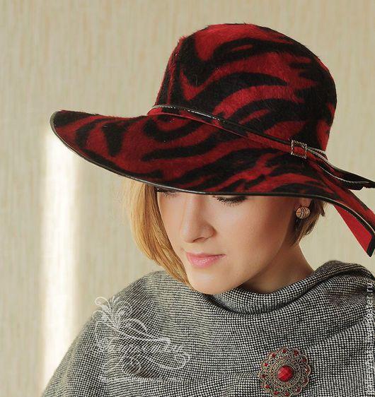 Шляпы ручной работы. Ярмарка Мастеров - ручная работа. Купить Велюровая  Фантазийная  шляпа с принтом красно -чёрной зебры. Handmade.