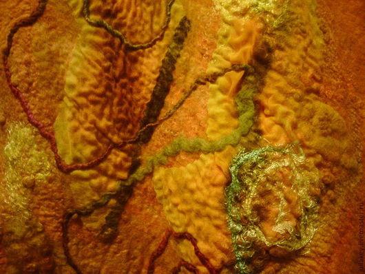 Шали, палантины ручной работы. Ярмарка Мастеров - ручная работа. Купить Палантин валяный Танго апельсиновых медуз. Handmade. Рыжий
