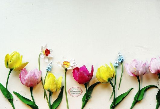 Цветы ручной работы. Ярмарка Мастеров - ручная работа. Купить Тюльпаны весенние. Handmade. Лимонный, тюльпан, цветы из полимерной глины