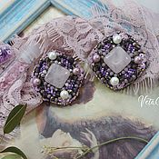 Украшения handmade. Livemaster - original item Elegant lilac earrings with pink stone. Handmade.
