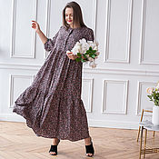 Одежда handmade. Livemaster - original item Boho maxi dress Tiered in Floral pink tones. Handmade.