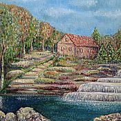 Картины и панно handmade. Livemaster - original item The picture At the waterfall. Handmade.