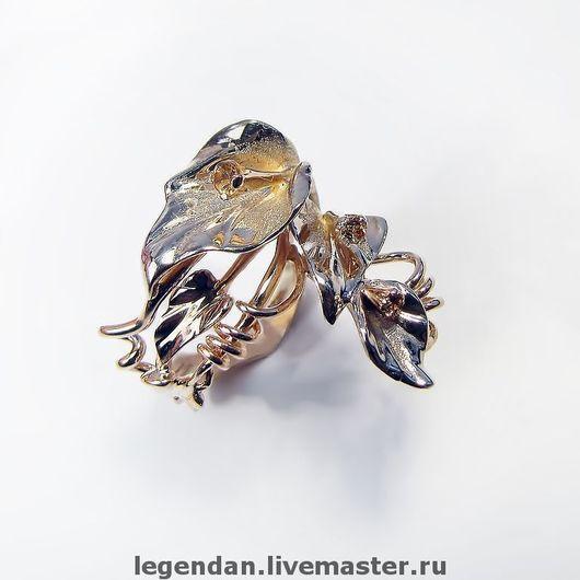 Золотое кольцо с цитринами. Золото 585 пробы. Золотое кольцо цветок. Авторская работа.