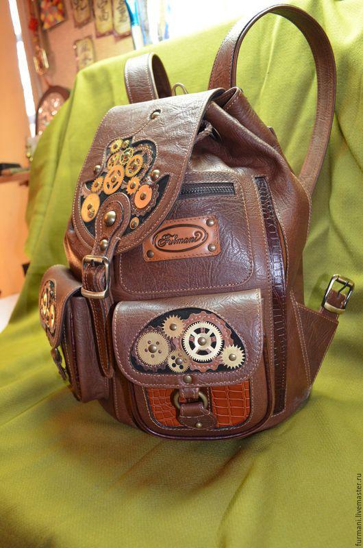 """Рюкзаки ручной работы. Ярмарка Мастеров - ручная работа. Купить Рюкзак""""СТИМ-АРТ"""". Handmade. Коричневый, рюкзак из кожи, ручной работы"""