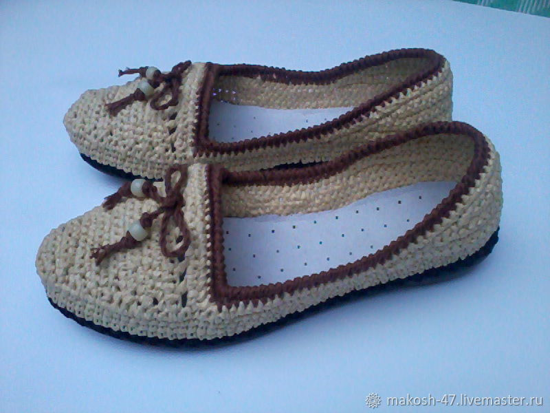 Knitted ballet shoes ( Raffia ), Ballet flats, Vyazniki,  Фото №1