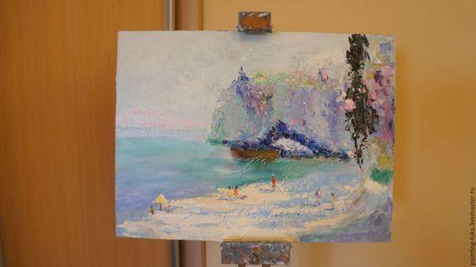 """Пейзаж ручной работы. Ярмарка Мастеров - ручная работа. Купить Картина маслом """"Пляж"""". Handmade. Бирюзовый, картина, картина маслом"""