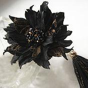 Bead bracelet handmade. Livemaster - original item The colors of the skin.Decoration bracelet women`s leather BLACK.GOLD.. Handmade.