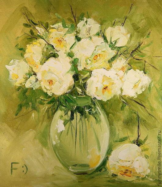Картины цветов ручной работы. Ярмарка Мастеров - ручная работа. Купить Картина маслом на холсте. Розы в стеклянной вазе.. Handmade.