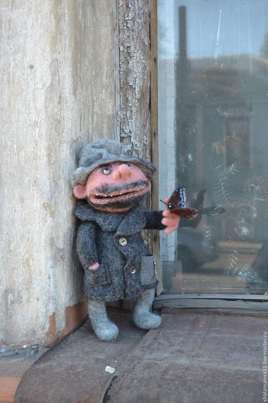 Коллекционные куклы ручной работы. Ярмарка Мастеров - ручная работа. Купить Бабайка, любитель бабочек. Handmade. Темно-серый