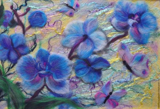 Картины цветов ручной работы. Ярмарка Мастеров - ручная работа. Купить Картина из шерсти Орхидеи. Handmade. Сиреневый, картина для интерьера