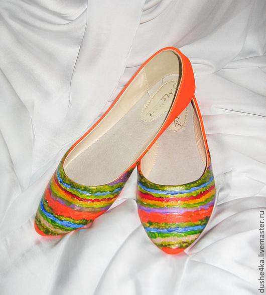 """Обувь ручной работы. Ярмарка Мастеров - ручная работа. Купить Балетки """"Оранжевый город"""". Handmade. Рыжий, балетки с росписью"""