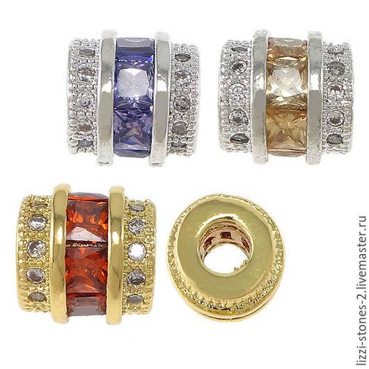 Бусина бочонок mini серебро и золото (Milano) Евгения (Lizzi-stones-2)