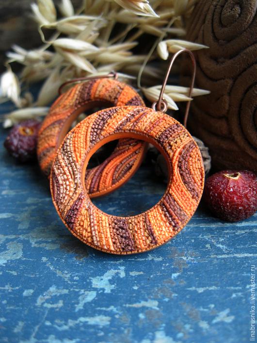 серьги из полимерной глины `Рыжая осень`. Автор - Алина Логинова (украшения `Брусника`).