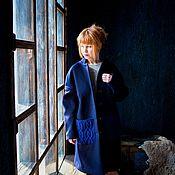 Одежда handmade. Livemaster - original item Wool coat with knitted pockets. Handmade.