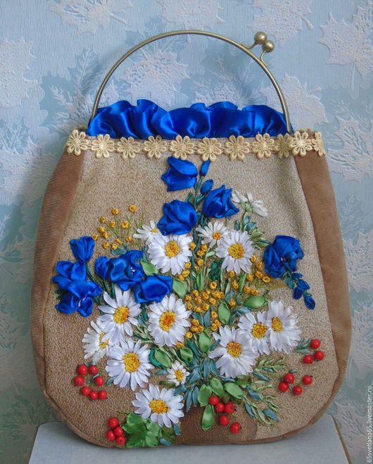 """Женские сумки ручной работы. Ярмарка Мастеров - ручная работа. Купить Сумочка, вышитая лентами, """"Полдень"""". Handmade. Разноцветный, тесьма"""
