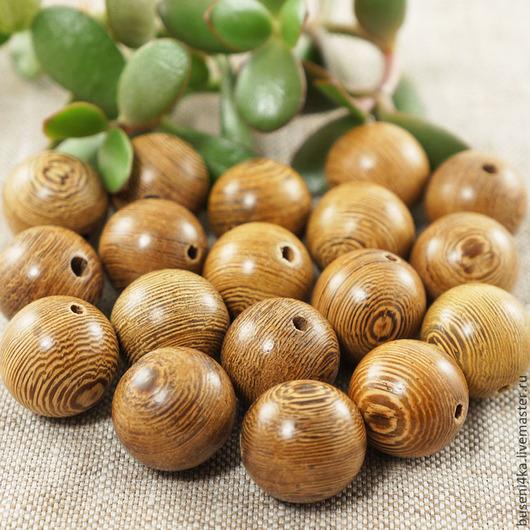 Для украшений ручной работы. Ярмарка Мастеров - ручная работа. Купить Бусина деревянная Бежево-коричневая 20мм (1шт). Handmade.