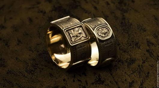 """Кольца ручной работы. Ярмарка Мастеров - ручная работа. Купить Венчальная пара """"Евангелисты"""". Handmade. Золото, кольцо с молитвой"""