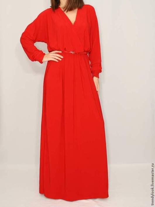 Платья ручной работы. Ярмарка Мастеров - ручная работа. Купить Красное платье в пол, длинный рукав летучая мышь. Handmade.