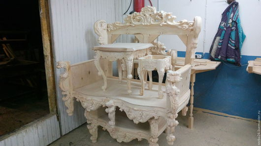 Мебель ручной работы. Ярмарка Мастеров - ручная работа. Купить Комплект мебели (барокко). Handmade. Коричневый, кухня, ясень, резная