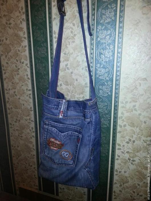 Мужские сумки ручной работы. Ярмарка Мастеров - ручная работа. Купить мужская джинсовая сумка. Handmade. Синий, джинсовая сумка