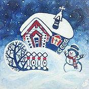 Картины и панно ручной работы. Ярмарка Мастеров - ручная работа Зимняя сказка, картина маслом. Handmade.