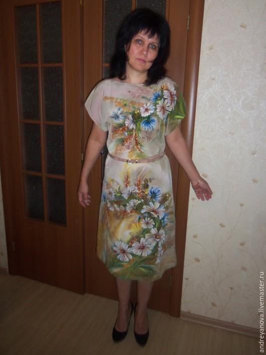 Платья ручной работы. Ярмарка Мастеров - ручная работа. Купить Платье-батик  ЦВЕТУЩИЙ ИЮЛЬ. Handmade. Бежевый, вечернее платье