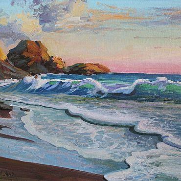 Картины и панно. Ярмарка Мастеров - ручная работа Закат над морем 30х40. Handmade.