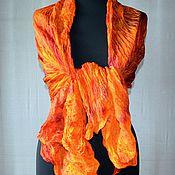 Аксессуары ручной работы. Ярмарка Мастеров - ручная работа шарф большой оранжево малиновый шёлковый шарф палантин натуральный. Handmade.