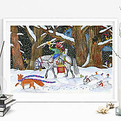 handmade. Livemaster - original item Poster painting for the interior of the winter landscape. Handmade.