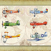 Картины и панно handmade. Livemaster - original item Airplanes on a world map a Poster Picture for the room of boy. Handmade.