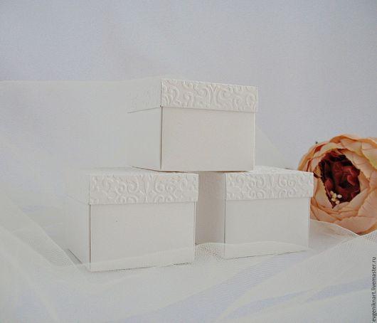 """Упаковка ручной работы. Ярмарка Мастеров - ручная работа. Купить Коробочки-бонбоньерки (заготовки)  """"Дамаск - 2"""". Handmade. Белый"""