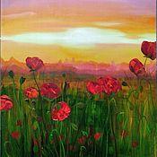 Картины и панно handmade. Livemaster - original item Field with poppies. Handmade.