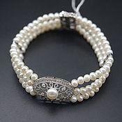 Украшения handmade. Livemaster - original item Three-row bracelet made of natural white pearls. Handmade.
