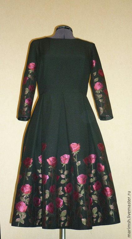 Платья ручной работы. Ярмарка Мастеров - ручная работа. Купить Платье с Розами. Handmade. Черный, цветочки, бантовые складки
