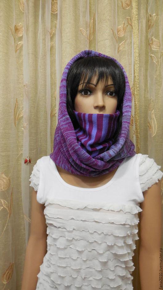 Шали, палантины ручной работы. Ярмарка Мастеров - ручная работа. Купить Комплект  меланжевого  снуд- шарфа  в 2 оборота Полосатик. Handmade.