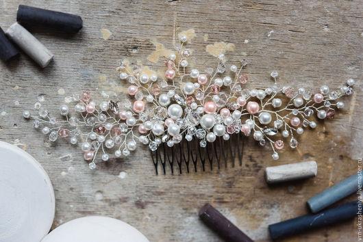 Свадебные украшения ручной работы. Ярмарка Мастеров - ручная работа. Купить Большой гребень для свадебной прически с розовым жемчугом. Handmade.