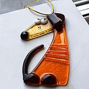 """Подарки к праздникам ручной работы. Ярмарка Мастеров - ручная работа Пёсики """"Год желтой собаки"""" стекло. Handmade."""