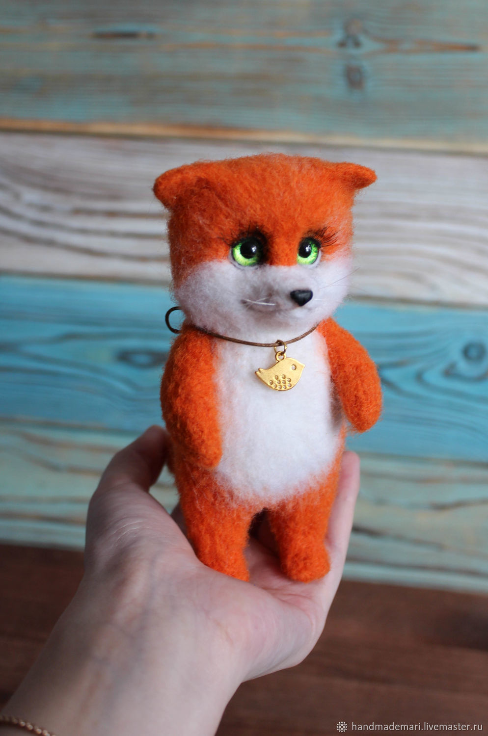 Fox green-Eyed toy made of wool, Felted Toy, Moscow,  Фото №1