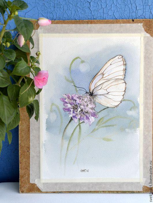 """Картины цветов ручной работы. Ярмарка Мастеров - ручная работа. Купить Картина акварелью """"Бабочка и лук"""". Handmade. Комбинированный, бабочка"""