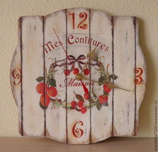 """Часы для дома ручной работы. Ярмарка Мастеров - ручная работа. Купить Часы """"Конфитюр"""". Handmade. Ярко-красный, декупаж работы"""