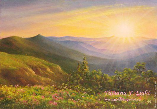 Пейзаж ручной работы. Ярмарка Мастеров - ручная работа. Купить Пейзаж Покой. Handmade. Комбинированный, горы, солнце, пейзаж