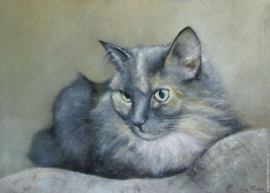 Животные ручной работы. Ярмарка Мастеров - ручная работа. Купить Портрет кошки М. Handmade. Картина, картина в подарок