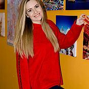 Свитшоты ручной работы. Ярмарка Мастеров - ручная работа Уютный красный свитшот из велсофта. Handmade.