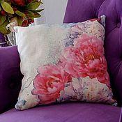 "Pillow handmade. Livemaster - original item Подушка ""Пионы"". Handmade."