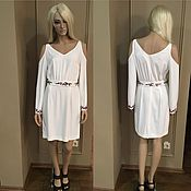 Одежда handmade. Livemaster - original item White dress with bare shoulders and embroidery. Handmade.