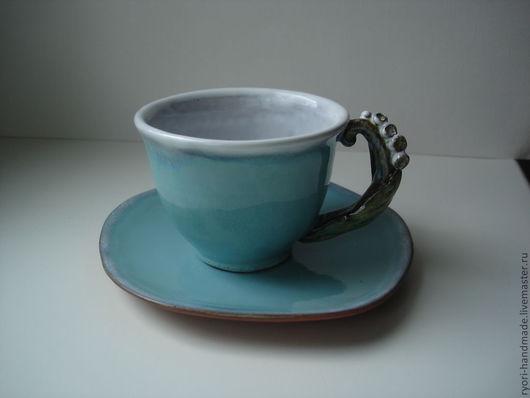 """Сервизы, чайные пары ручной работы. Ярмарка Мастеров - ручная работа. Купить Кофейная (чайная) пара """"Лазурный ландыш"""". Handmade."""