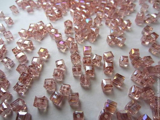 Для украшений ручной работы. Ярмарка Мастеров - ручная работа. Купить Хрусталь, граненые бусины, форма - куб, 5 мм грань, розовый. Handmade.
