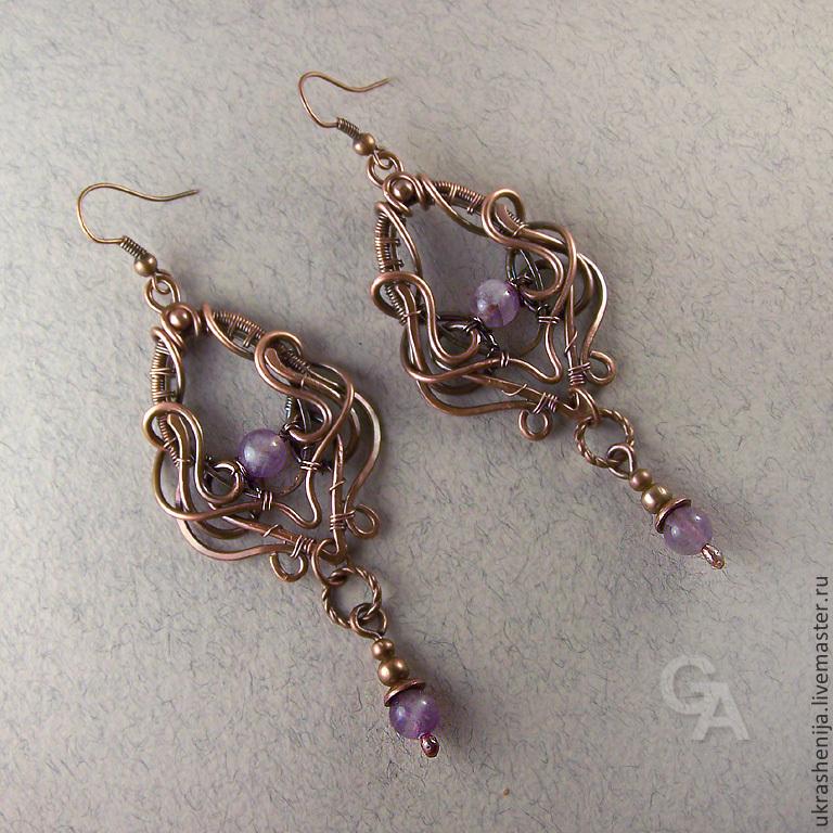 Earrings with amethyst 'Lavender', Earrings, Vladimir,  Фото №1