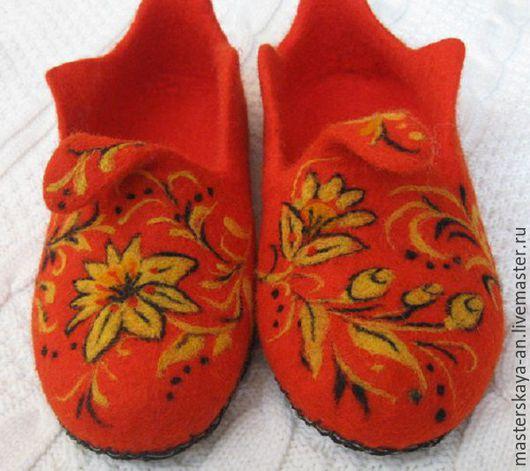 """Обувь ручной работы. Ярмарка Мастеров - ручная работа. Купить Войлочные тапки """"Цветы Хохломы"""". Handmade. Ярко-красный"""